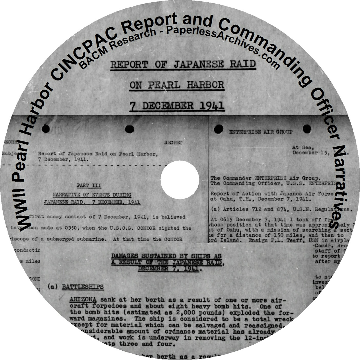 World War II:  Pearl Harbor  Commander-in-Chief, U.S. Pacific Command (CINCPAC) Documents - Download