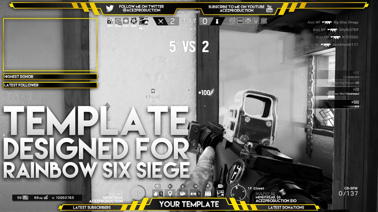 Live Stream Overlay Template Pack - Rainbow Six Siege - Photoshop Template - Volume 7