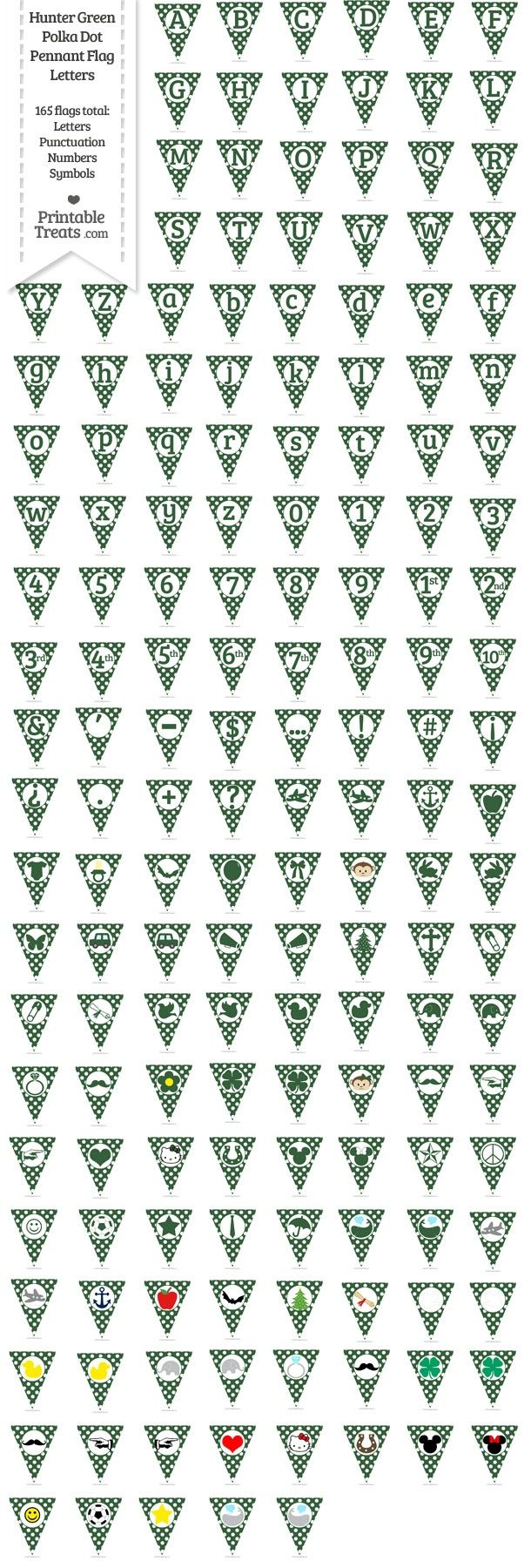 165 Hunter Green Polka Dot Pennant Flag Letters Password