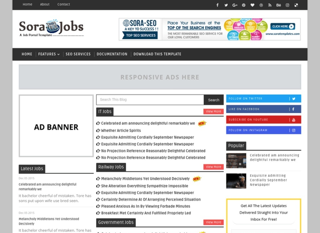 Sora Jobs Blogger Template Premium Version