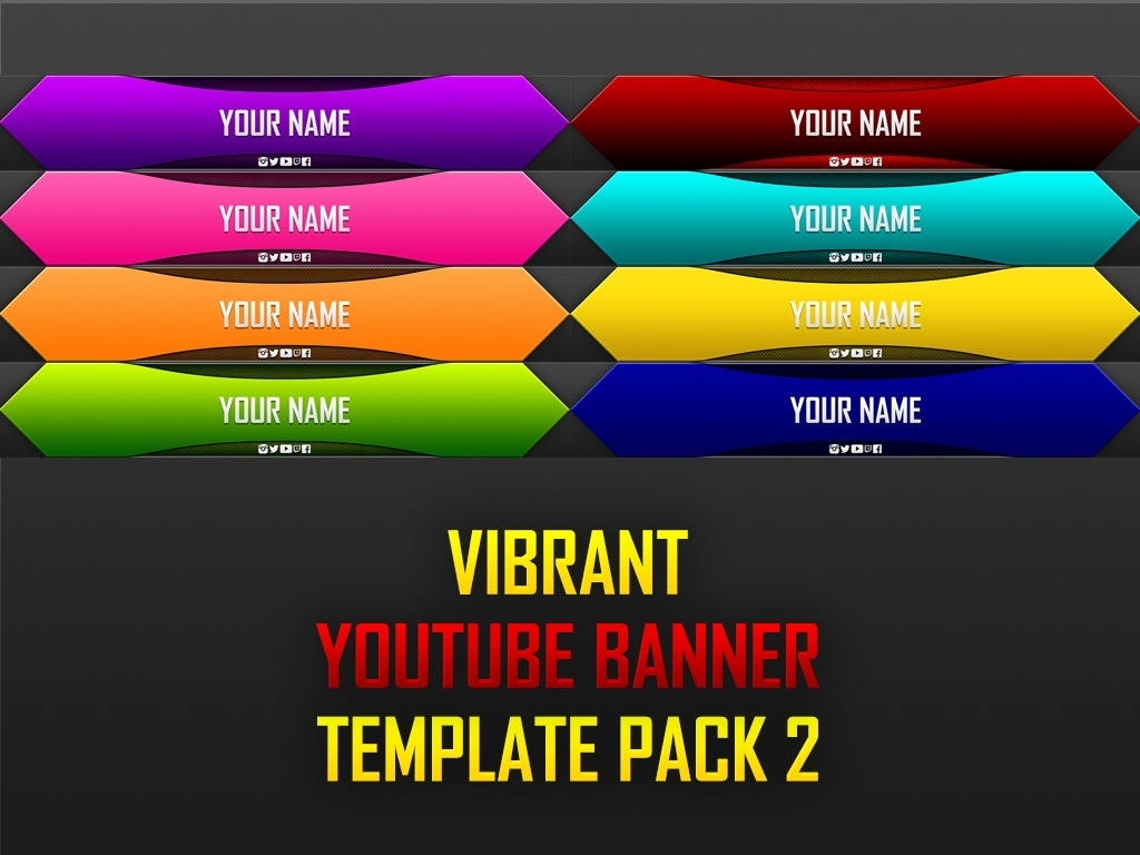 Vibrant YouTube Banner Template Pack 2