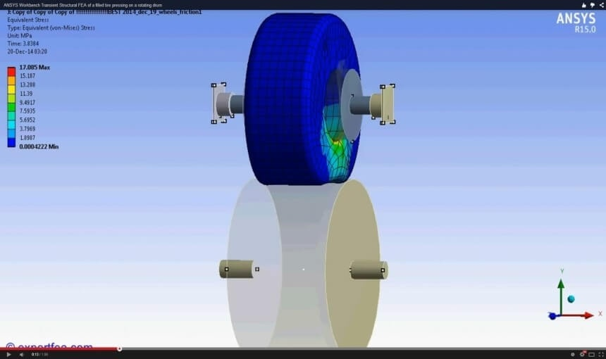 ANSYS Workbench MECHDAT file and 3D model for tire on drum