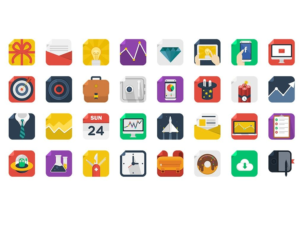 170 Modern Square Icons