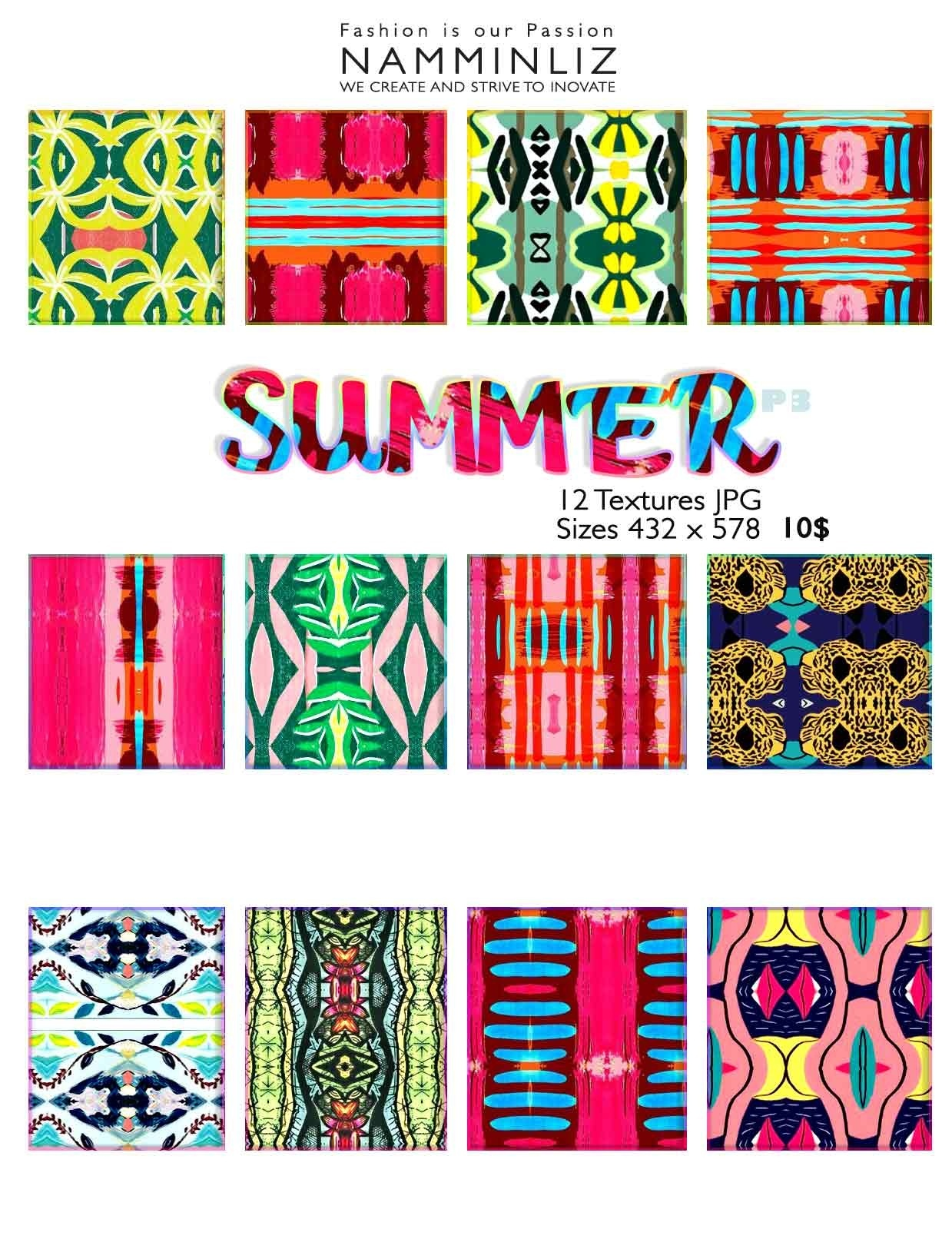 Summer Textures P3  • 12 Textures JPG imvu NAMMINLIZ