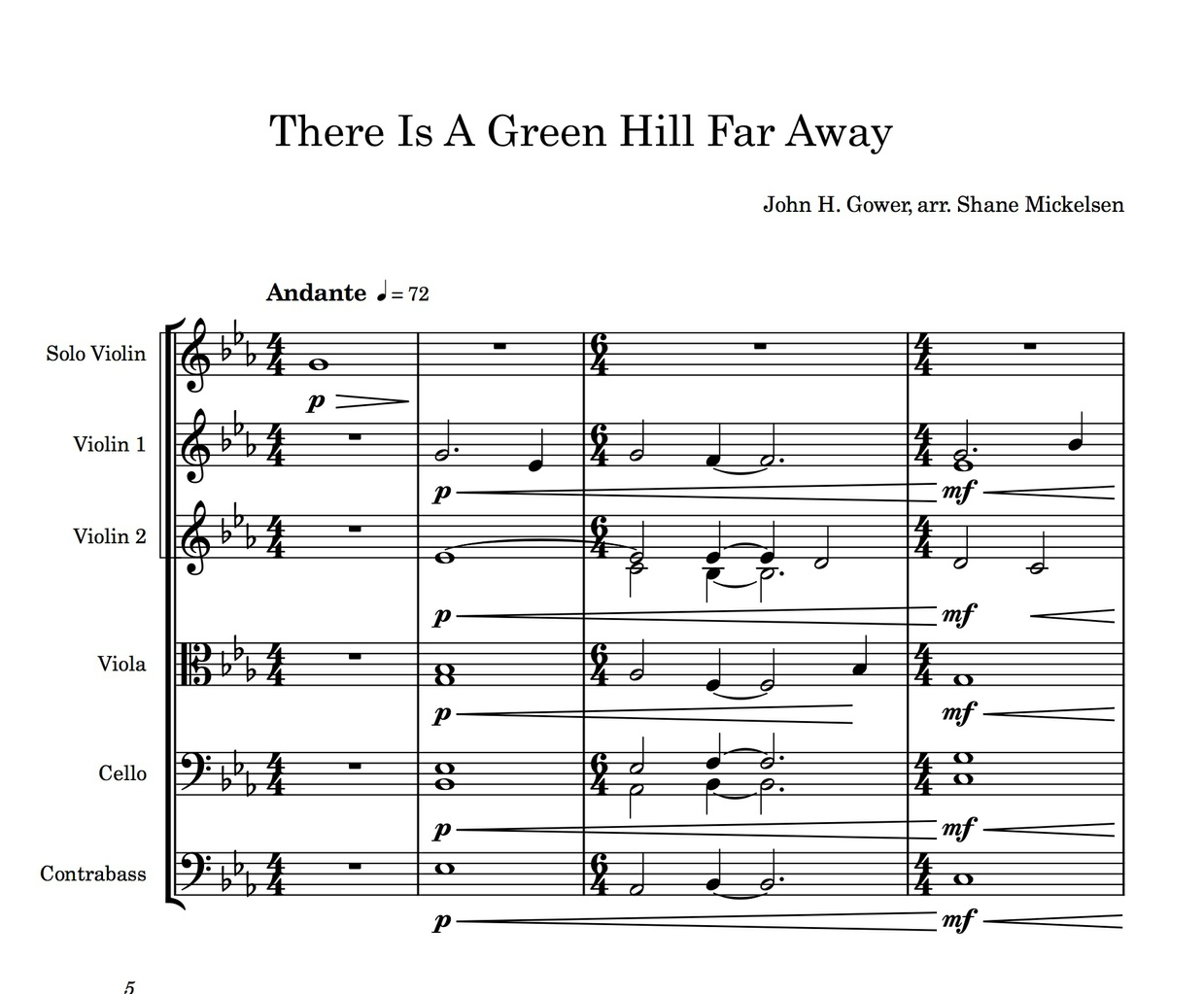 There Is A Green Hill Far Away - String Orchestra Score and Parts