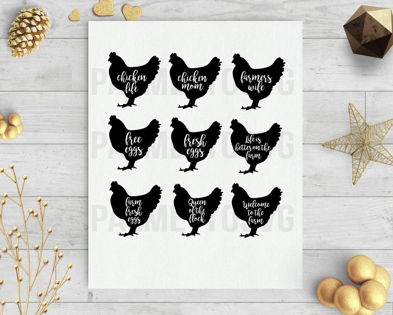 chicken farm hen set clip art silhouette cameo cricut download