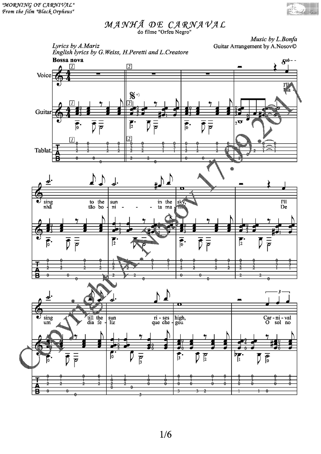 Morning of Carnival (mus.L.Bonfa, lyr.A.Mariz) Sheet music for vocals and guitar