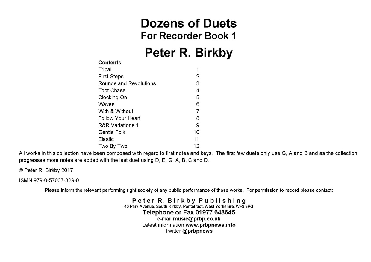 Dozens of Duets for Recorder Book 1