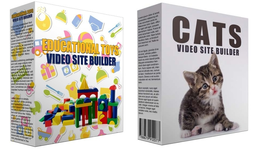 2 Video Site Builders: Cats Video Site Builder and Educational Toys Video Site Builder