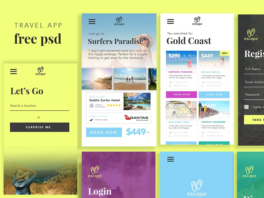 Travel App UI Free PSD Template Download