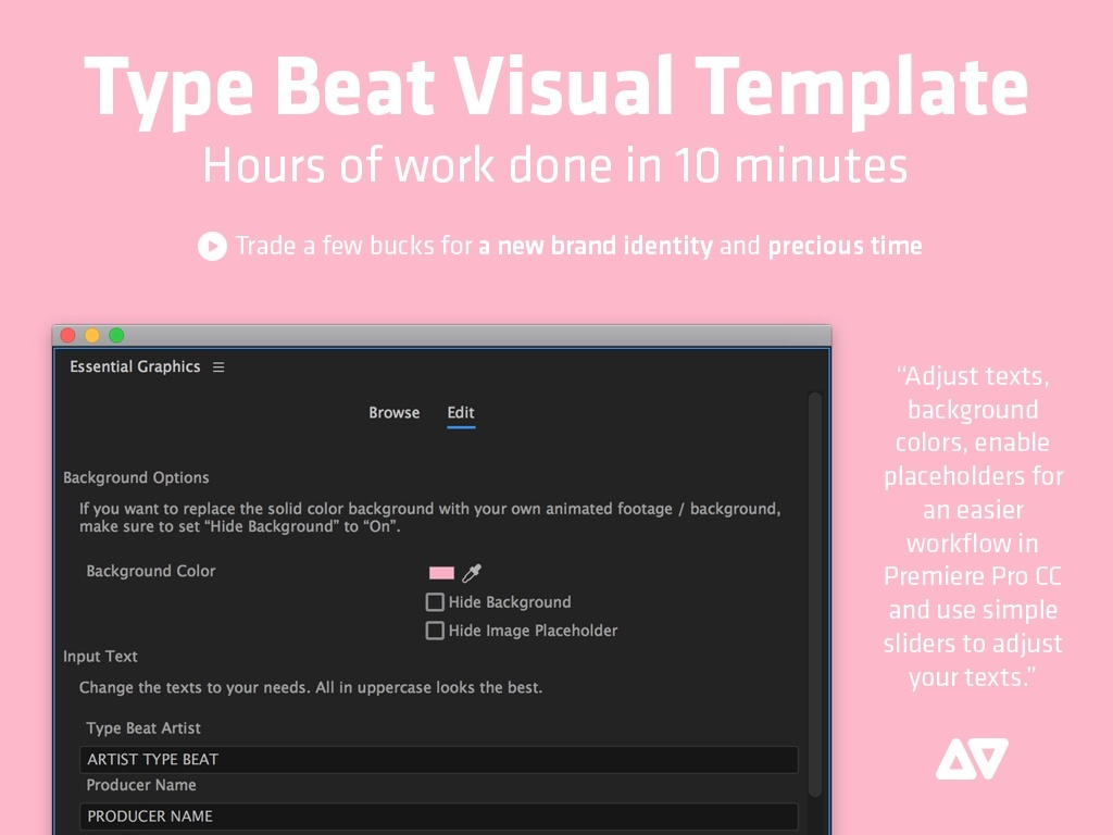 Type Beat Visual Template (animated/customizable) for Premiere Pro CC (April 2017)