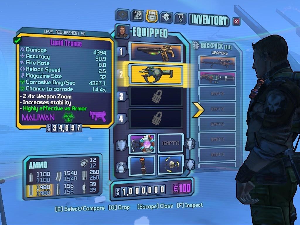 Get all 42 inventory slots borderlands
