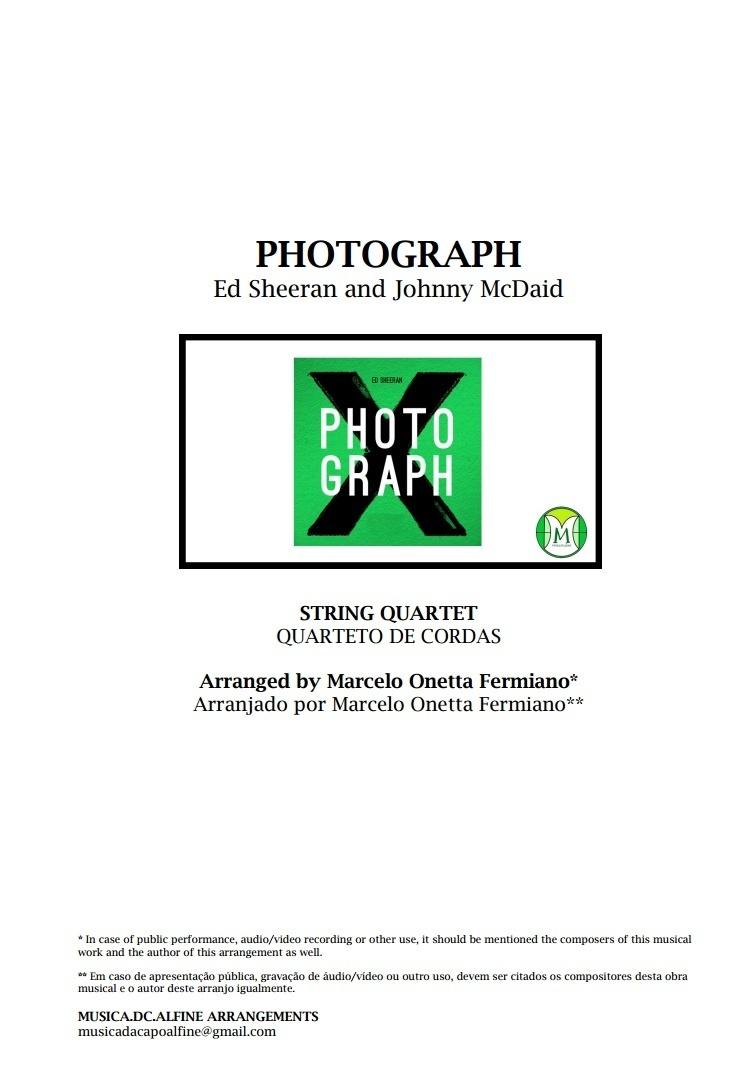 Photograph | Ed. Sheeran | Quarteto de Cordas | Partitura Grade e Partes