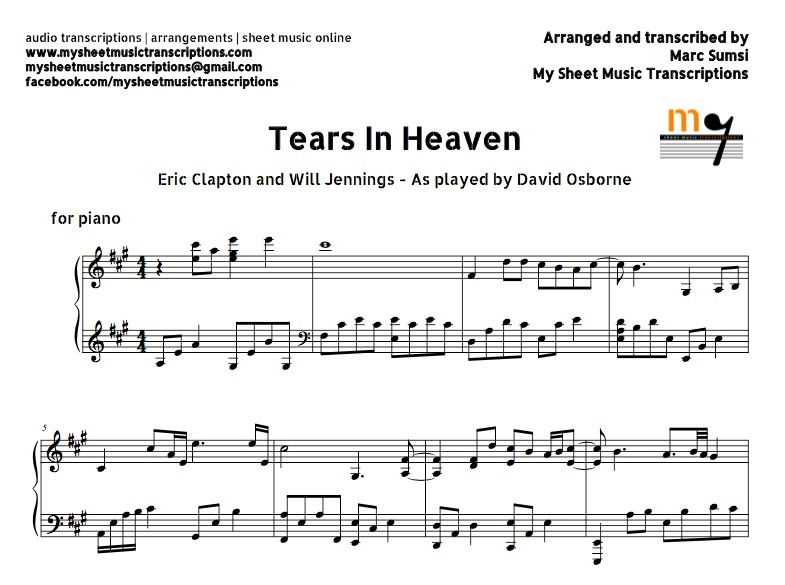 Tears in Heaven (Eric Clapton) Sheet music (.pdf)