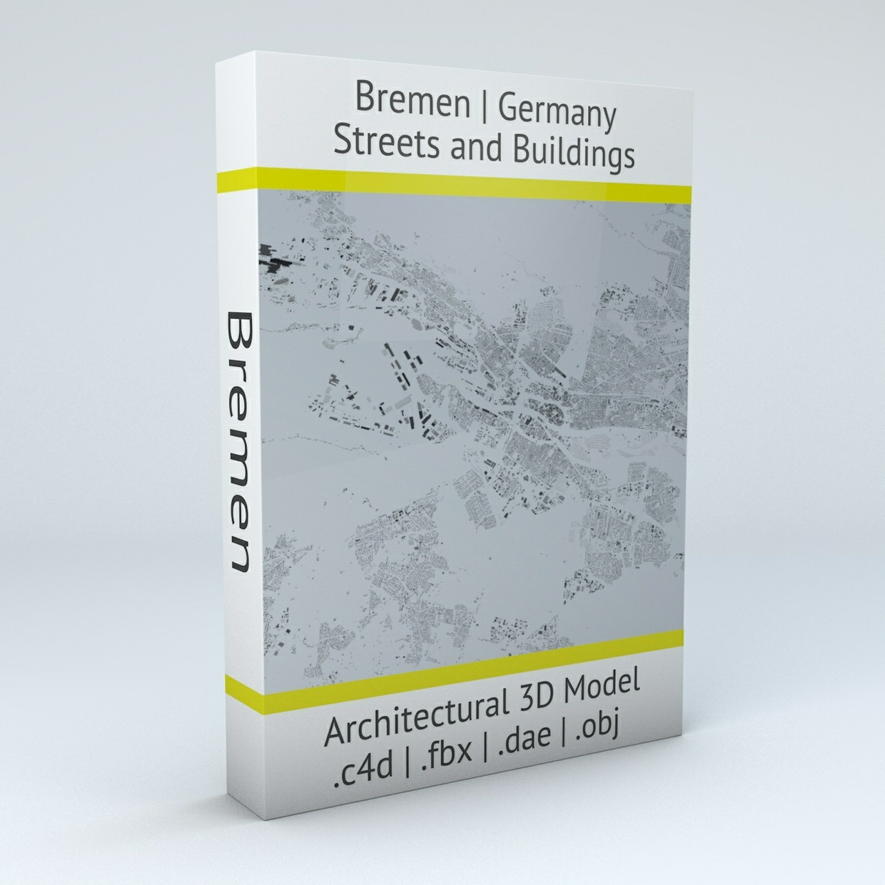 Bremen Streets and Buildings Architectural 3D Model