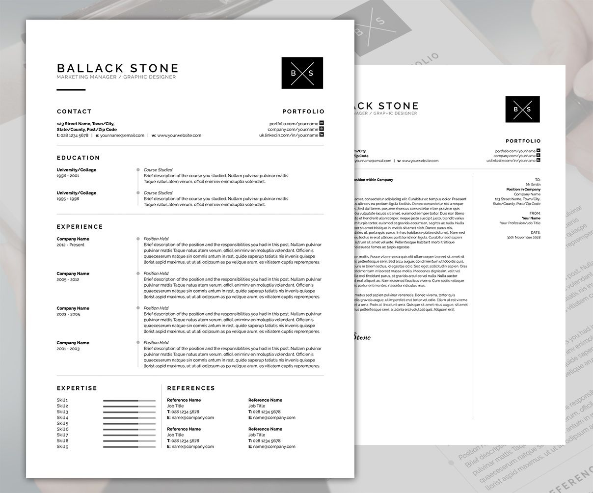 Resume Template With Cover Letter Docx Psd
