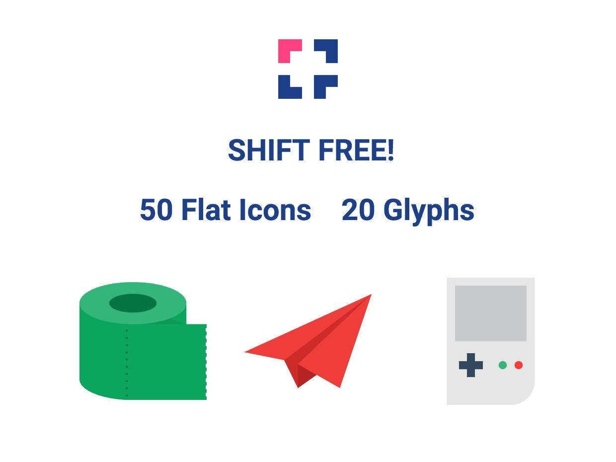 Shift Flat Icon Set (Free)
