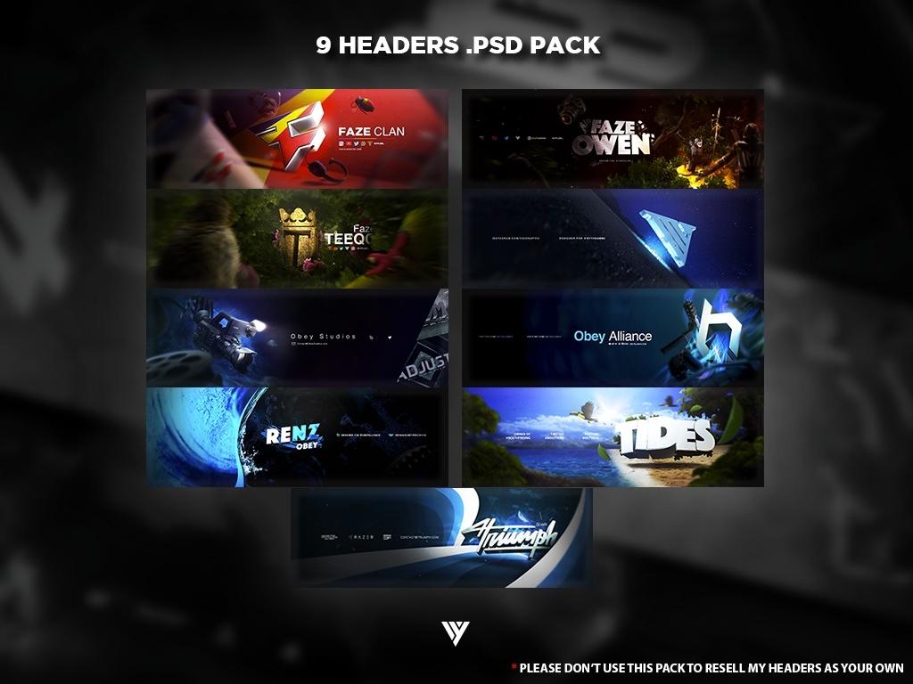 9 Headers .PSD Pack