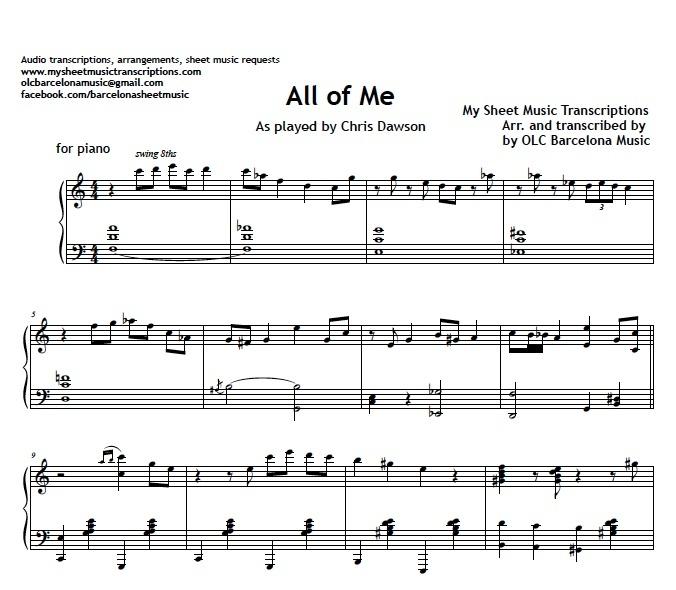 All of me pdf sheet music free
