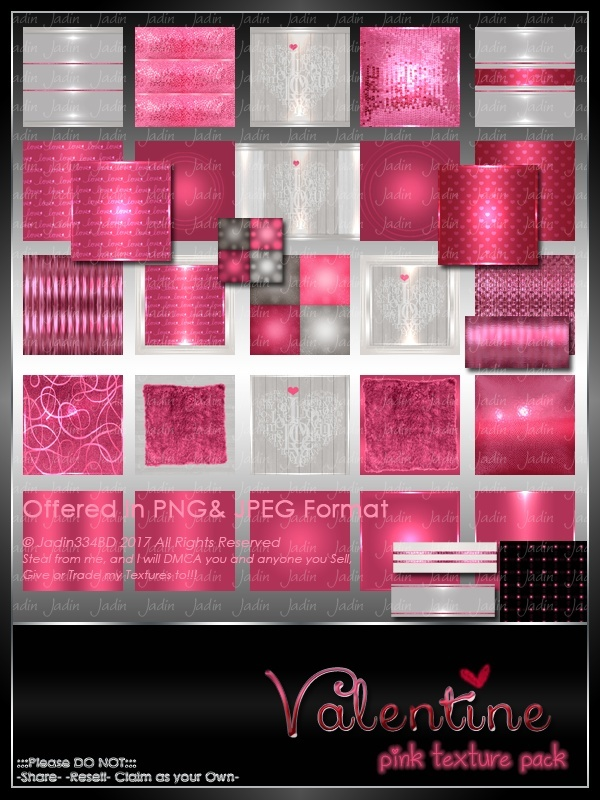 Valentine PINK Texture Pack -- $5.00