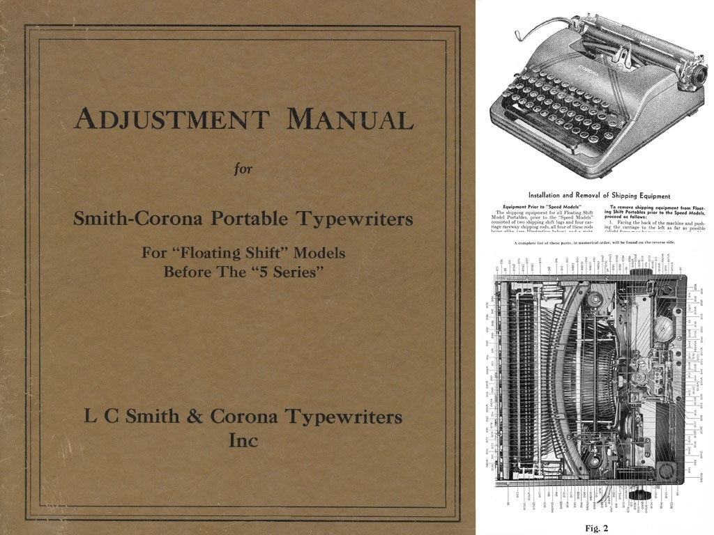 "Smith Corona 1 through 4 Series ""Floating Shift"" Portable Typewriter Service Adjustment Manual"