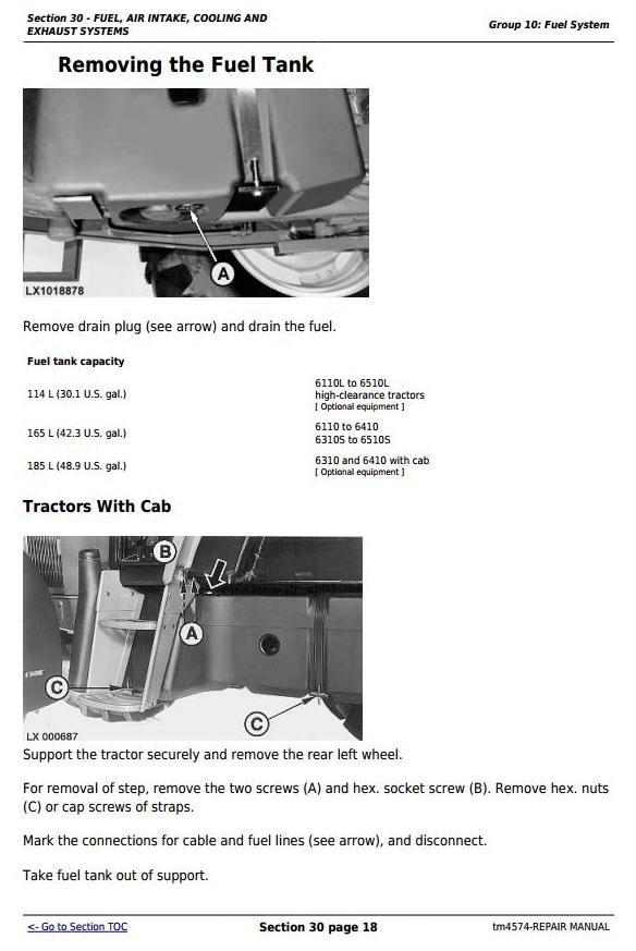 John Deere 6110( ,L), 6210( ,L), 6310( ,L,S), 6410( ,L,S), 6510(L,S) Tractors Repair Manual (tm4574)
