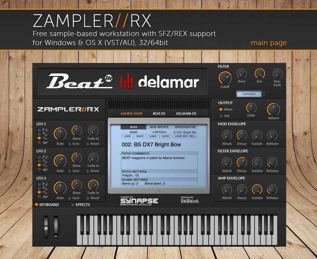 SYNTH CLASSICS – Sound bank for Zampler//RX workstation (Win/OSX plugin included)