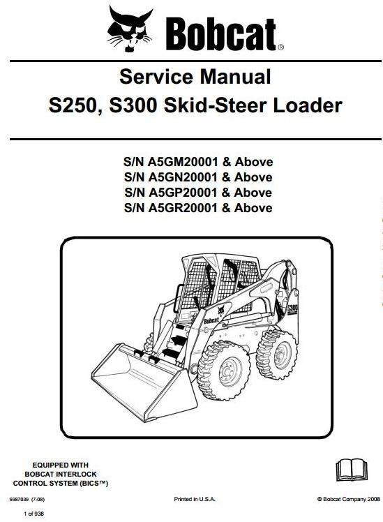Bobcat Skid Steer Loader S250, S300: S/N A5GM/A5GN/A5GP/A5GR 20001 up Workshop Manual