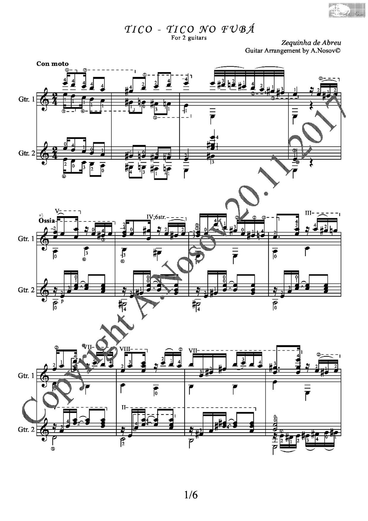 Tico-Tico no Fuba (Z.Abreu) Sheet Music for Guitar Duets