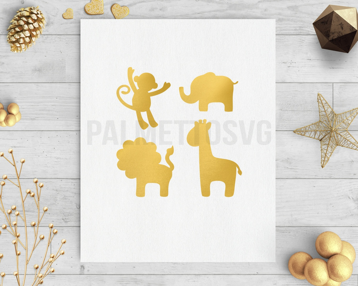 safari animals gold foil clip art svg dxf silhouette cricut downloads