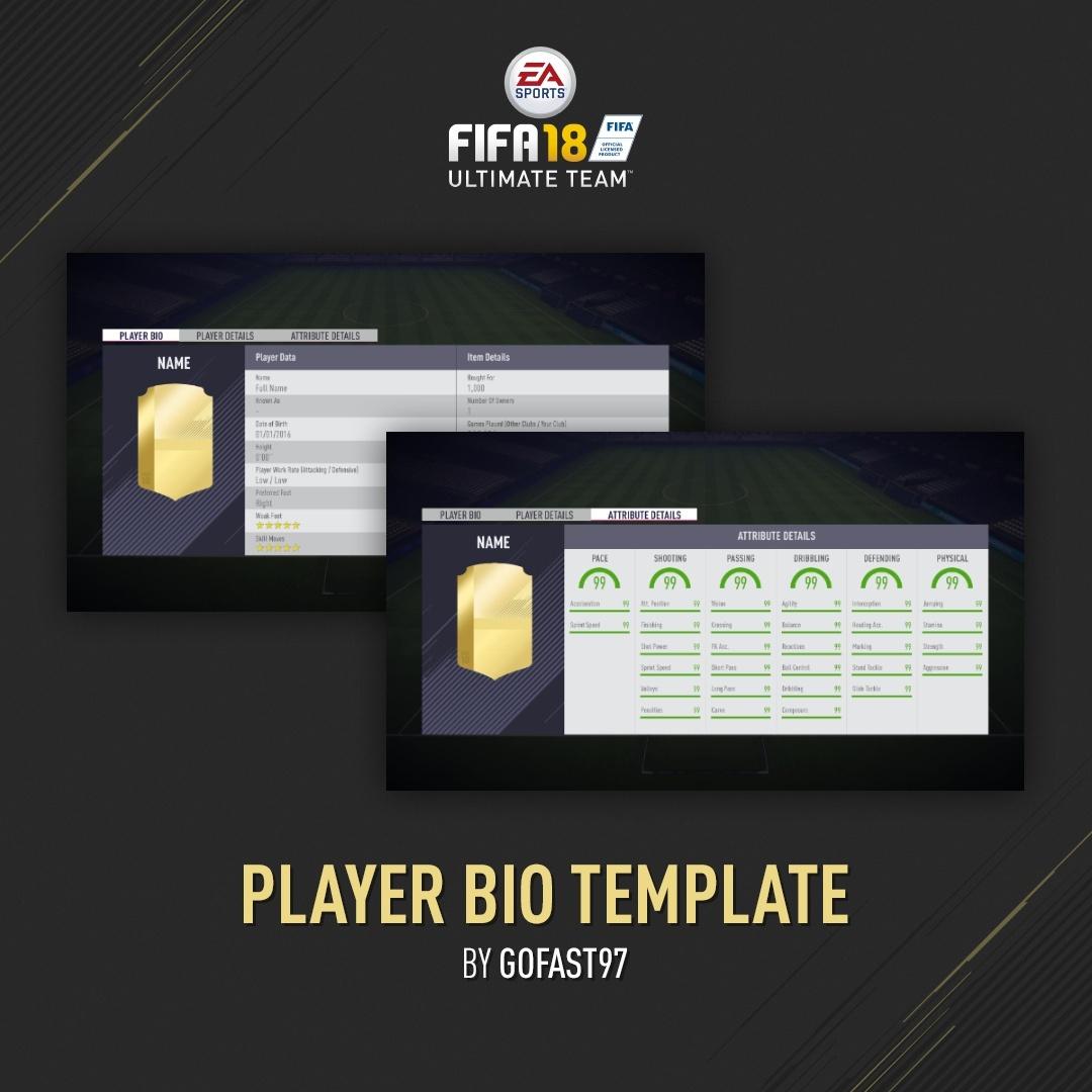 FUT 18 PLAYER BIO FULL EDITABLE