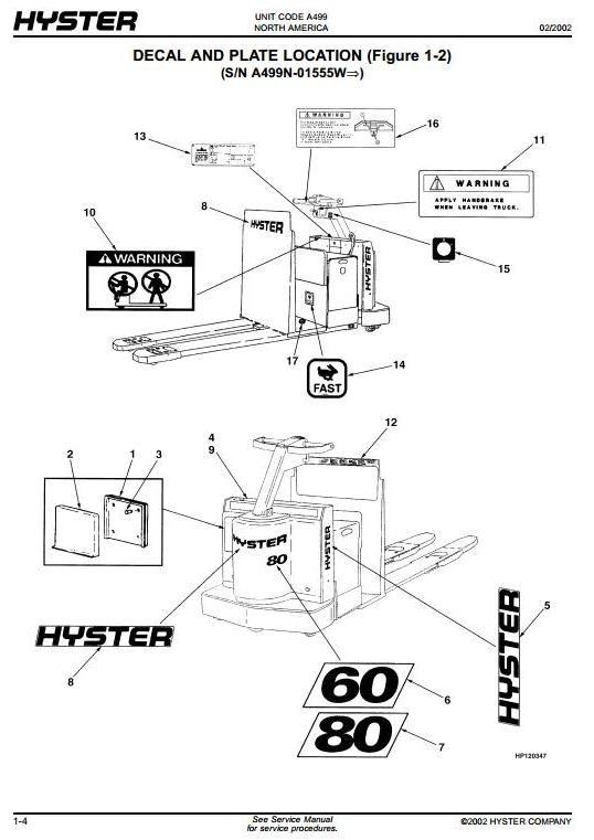 Hyster Pallet Truck A499 Series: C60XT2, C80XT2 Spare Parts List