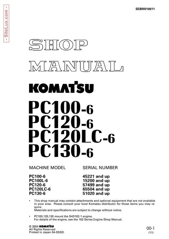 Komatsu PC100-6, PC100L-6, PC120-6, PC120LC-6, PC130-6 Hydraulic Excavator Shop Manual - SEBM010611