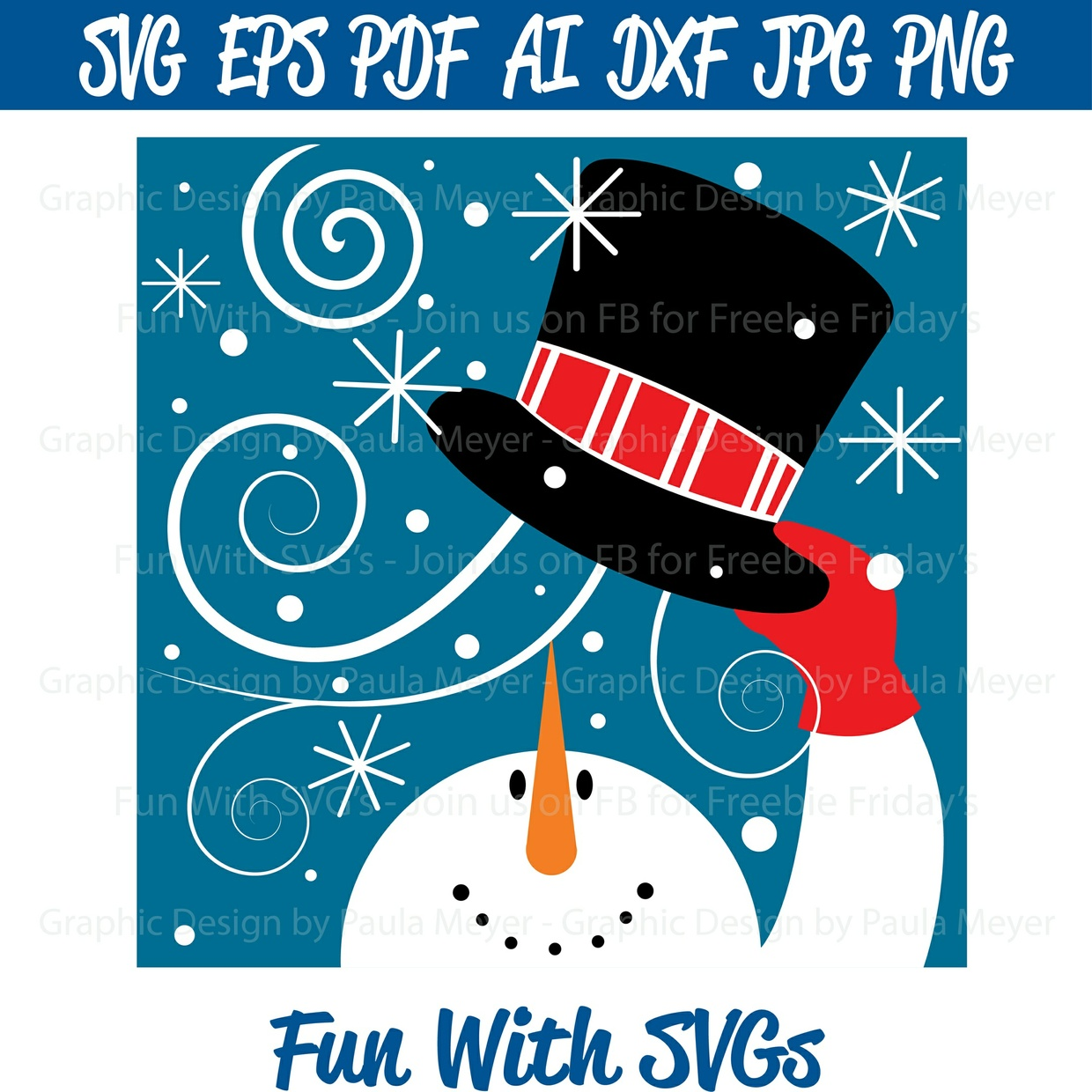 Snowman SVG - Wind, Hat - High Resolution Printable Graphics and Editable Vector Art