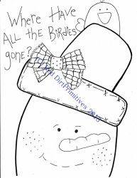 #8Birdies Gone Snowman All line/stitcherys drawing ePattern