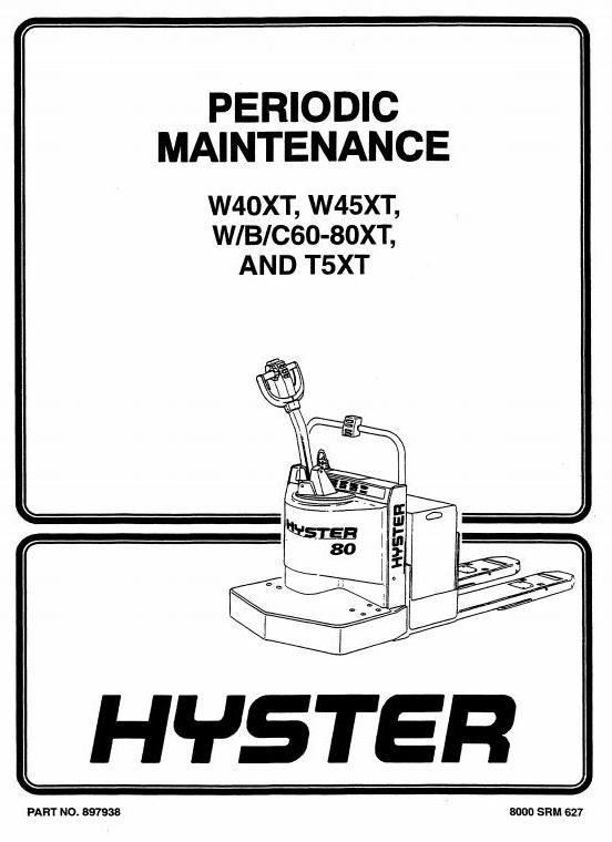 Hyster Pallet Truck T5XT (E142 series), W60XT, W80XT (E135 series) Workshop Service Manual