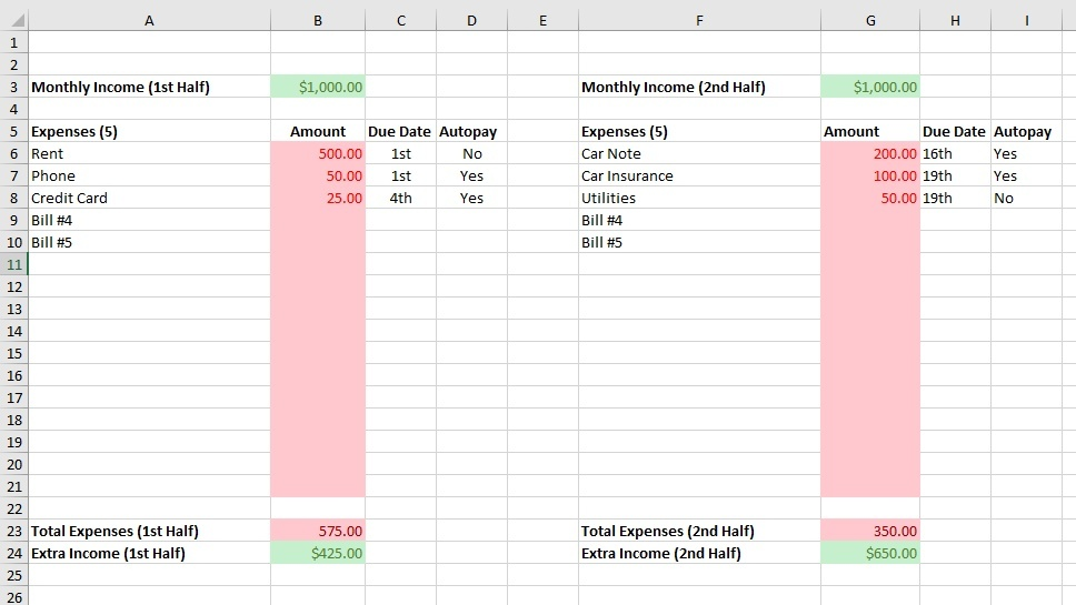 FREE Monthly Budgeting Template