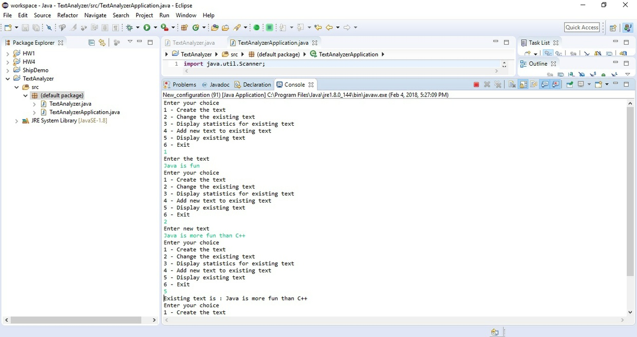 Create an Eclipse project named TextAnalyzer Solution