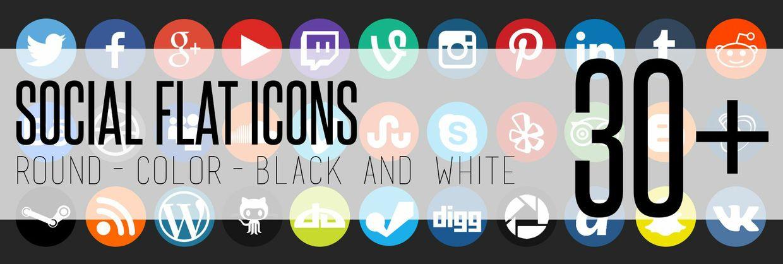 30+ social flat icons