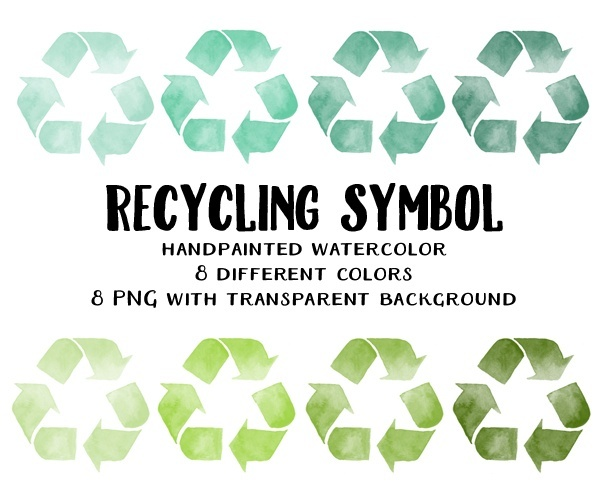 recycling symbol clipart - watercolor green