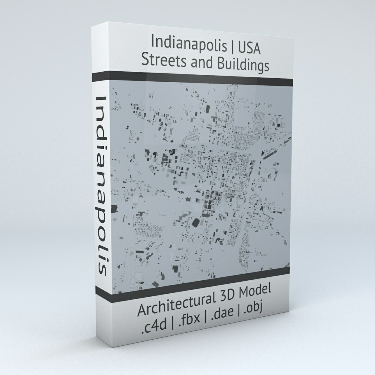 Indianapolis Downtown Area Streets and Buildings Architectural 3D Model