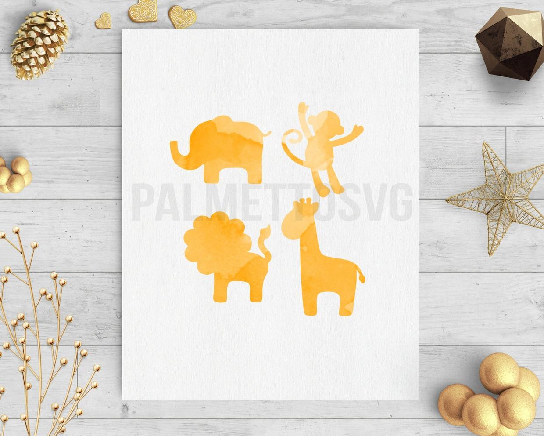 Safari animals orange water color clip art svg dxf cut file silhouette cricut downloads
