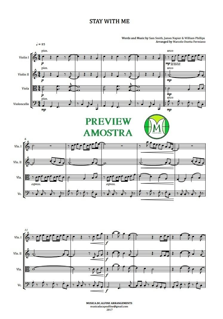Stay With Me | Sam Smith | Quarteto de Cordas | Partitura Completa | Download
