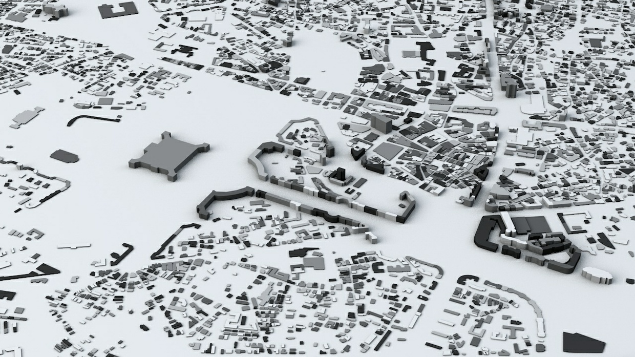 Bucharest Streets and Buildings Architectural 3D Model