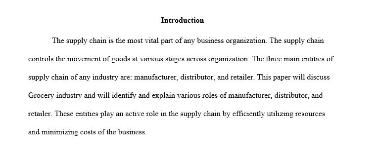 map the supply chain paper 12 Write a 750- to 1,000-word paper that identifies each link in the supply chain and the purpose and value map the supply chain paper 12 point arial/times new.