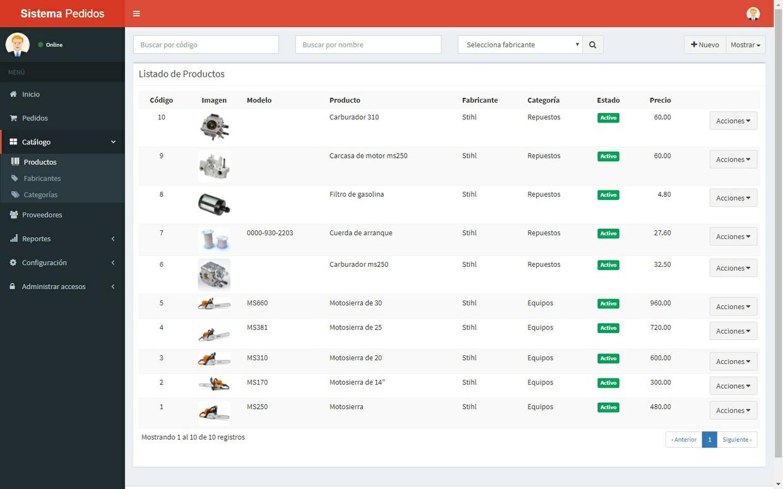 Sistema web de pedidos con PHP 7