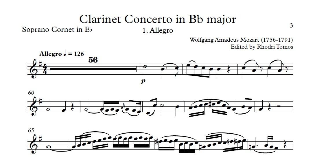 Mozart K622 Clarinet Concerto in Bb major. Play along accompaniment mp3 & sheet music pdf.