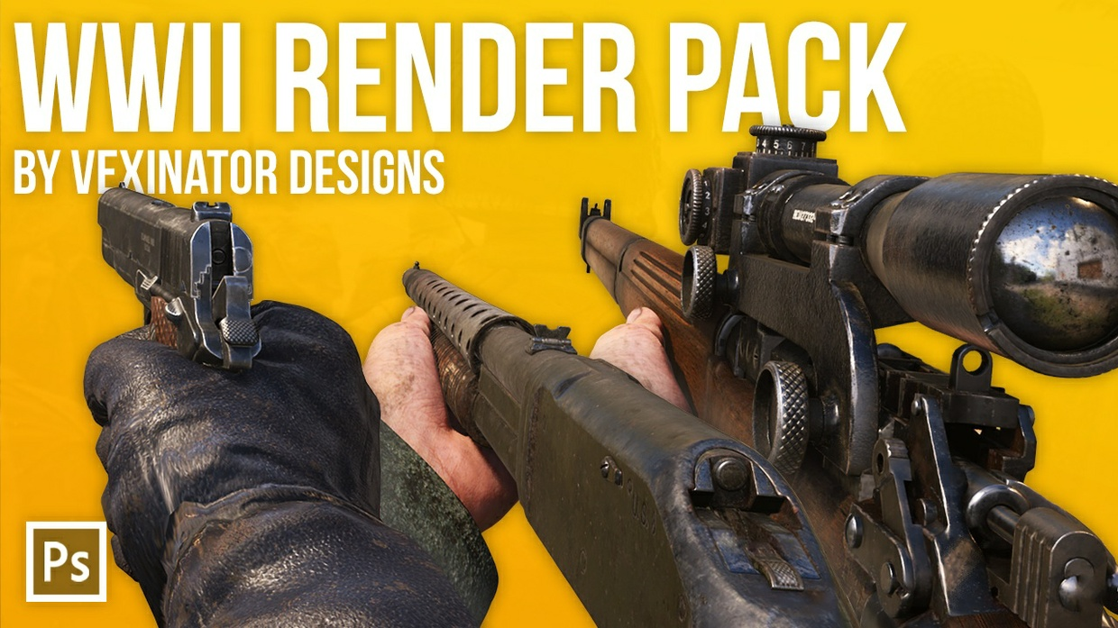 Call of Duty: WWII Render Pack Stocks | Free Photoshop Template [4K, All Weapon, PSD & PNG]