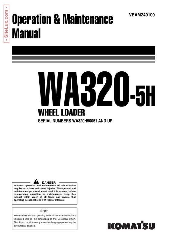 Komatsu WA320-5H Wheel Loader Operation & Maintenance Manual - VEAM240100
