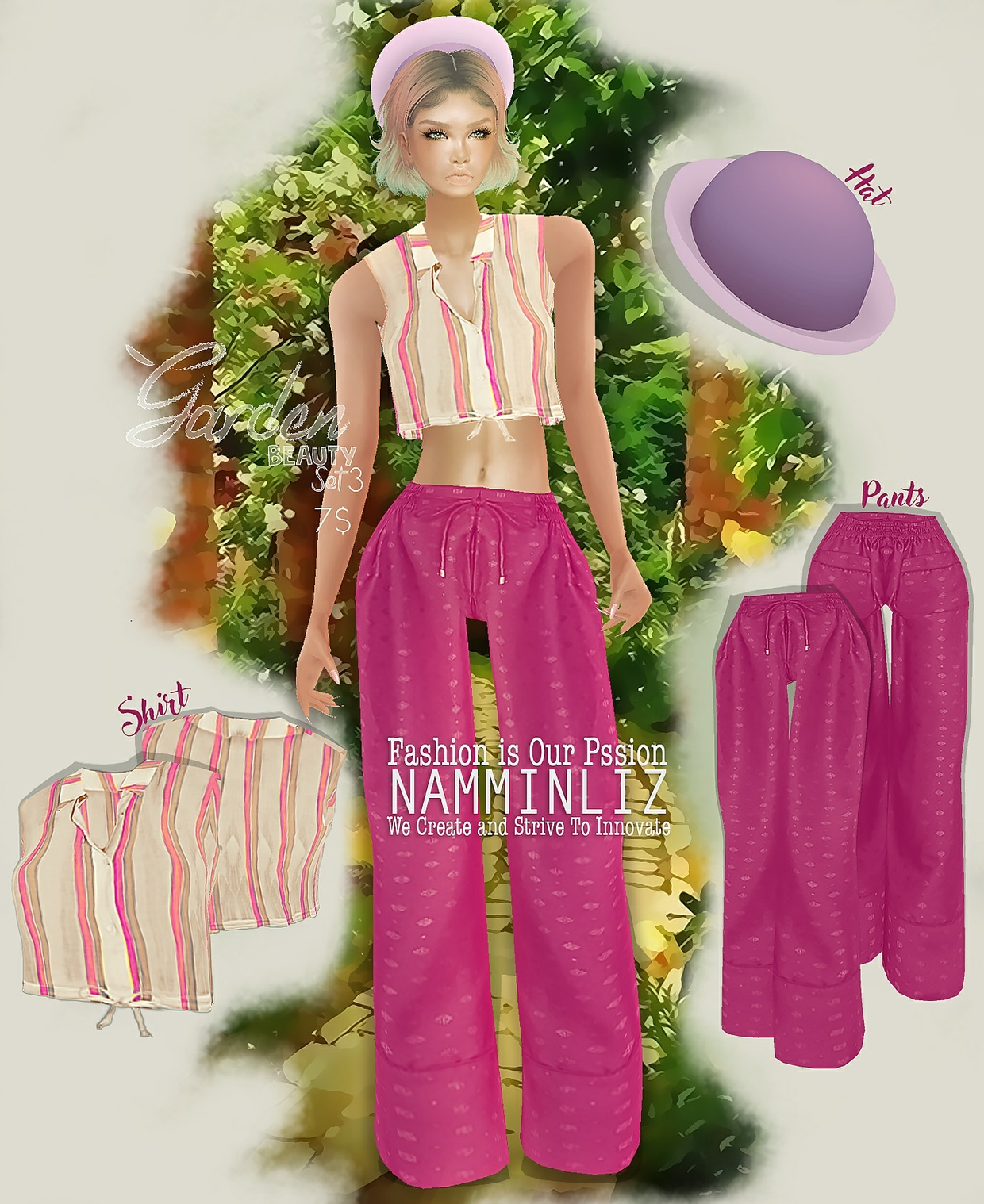 Garden Beauty Set 3 imvu PNG textures Shirt + Pants + Hat
